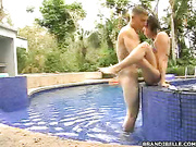 Jackass being sucked and fucked at the pool
