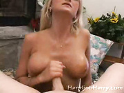 Blonde hottie looking for job drops to knees and jerks cock