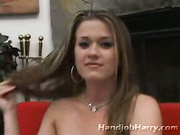 Eager little slut borrows cock giving sensual dick massage