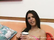 Tall raven haired latina sips coffee then sips on dick tip