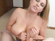 Mommy with massive mounds lets me titty fuck deep cleavage