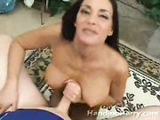 Older brunette milf shows off ass and puts cock between tits