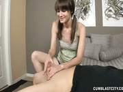 Chloe jerking off huge cock on her first date