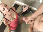Teen Sasha Foxxx get huge facial cumshot