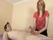 Sexy masseuse Victoria jerking off big cock