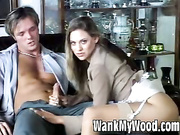 Sultry blonde jerks a thick cock on her titties