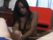 Gorgeous ebony pulls white cock
