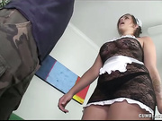 Busty maid Katie jacks off her boss