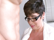 Perverted busty milf jerking off her student