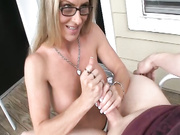 Milf Chrissy gives sensual slow handjob