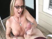 Milf Chrissy gives sensual slow handjob