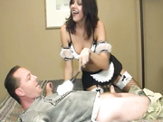 Hot maid Cherry Poppins wanking a huge schlong