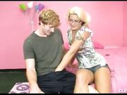 Teen JC SImpson gives a nice hand job on a amateur cock