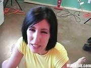 Melanie gives a handjob rubs hard cock her 36D tits