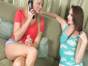 Audrey Lords and Christina Skyee handjob