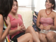 three girls coax cum handjob