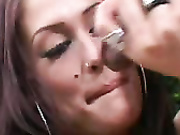 Paris Hilton lookalike stroking dick