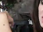 Gorgeous babe stroking cock