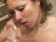 Girl stroking cock and titty fucking