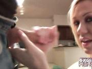 Sammy giving handjob to a large knob