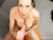 Sexy milf stroking big cock for a facial