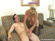 Hot cougar Mikki milking throbbing dick