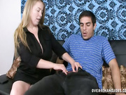 Desiree stroking huge-size boner
