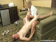 Milf Simone jerks and sucks delivery boy
