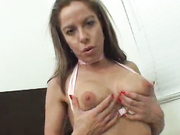 Busty babe takes on stiff cock