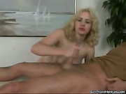 Hot blonde is jerking cock