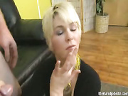 Shy blonde rubs cock with explosion
