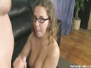 Allie jerks off hard cock