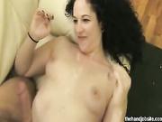 Puffy nippled slut jerks off hard cock