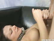 Young abby gets a hand full of nut