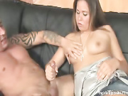 Cutie sucks large cock and jizzed on her tits