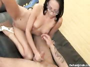 Nerdy naked slut jerks off big hard cock