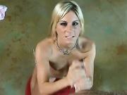 Blonde Courtney Simpson rubbing an erect prick