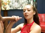 Myah Monroe shows an excellent handjob