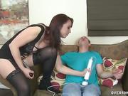 Redhead milf Nicki gave handjob