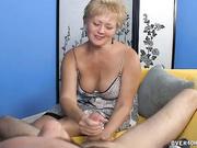Busty Tracy gave a handjob