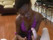 Ebony strokes huge white joystick slowly