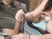 Teen Abigail jerking off her boss