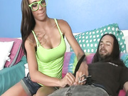 Sexy Sasha Foxxx stroking a homeless