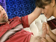 Asian slut gave handjob to her step dad