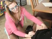 Teen slut jerking off her step dad