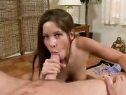 Cute brunette Haley Paige gives handjob
