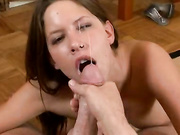 Haley Paige wanking off a cock