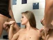 Rita Faltoyano joins two guys in the bathroom