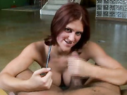 Ava Ramone tugging cock