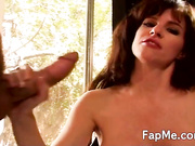 Sexy girl playing with two large dongs